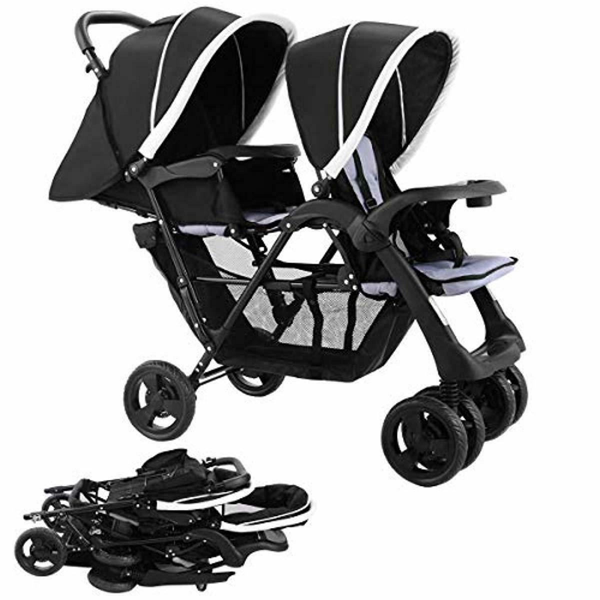 foldable double stroller baby infant pushchair travel