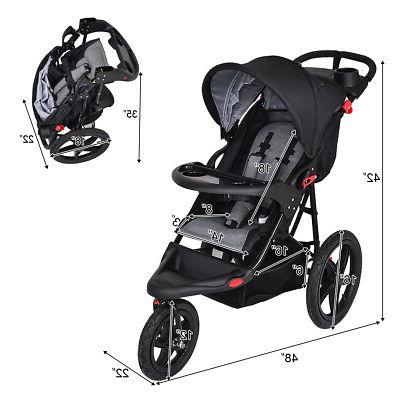 Foldable Stroller Jogger All-terrain w/ Cup