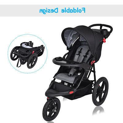 Foldable Lightweight Baby Stroller Jogger Cup Phone