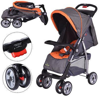 Foldable Kids Stroller Newborn Buggy Pushchair Gray