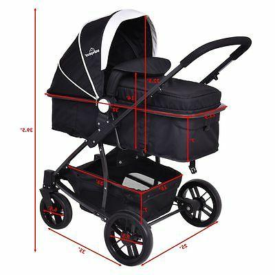 3 In1 Foldable Kids Travel Stroller Infant Pushchair Buggy