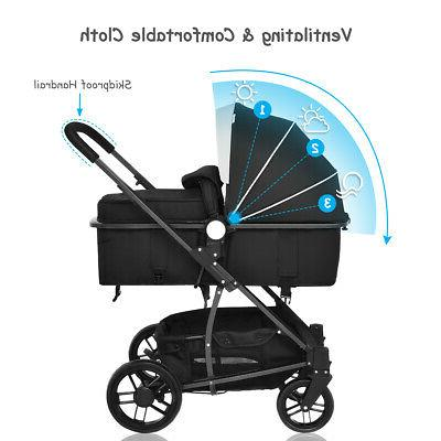 3 In1 Kids Infant Pushchair Buggy Black