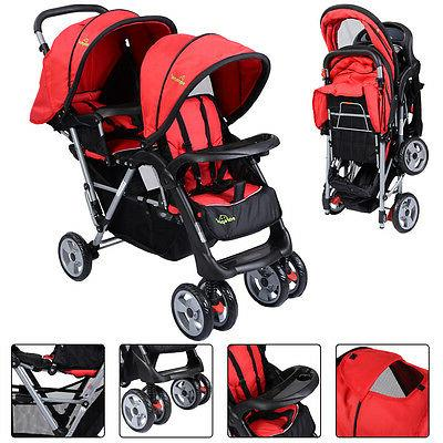 Foldable Twin Baby Double Stroller Infant Pushchair