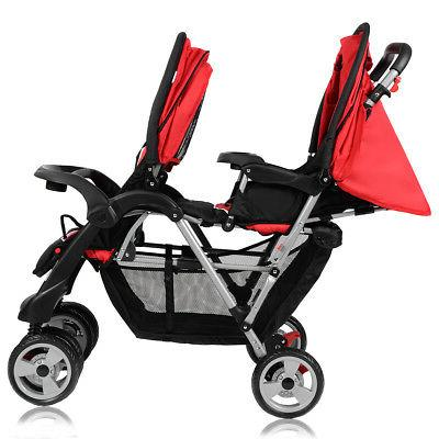 Foldable Twin Stroller Travel Infant Pushchair