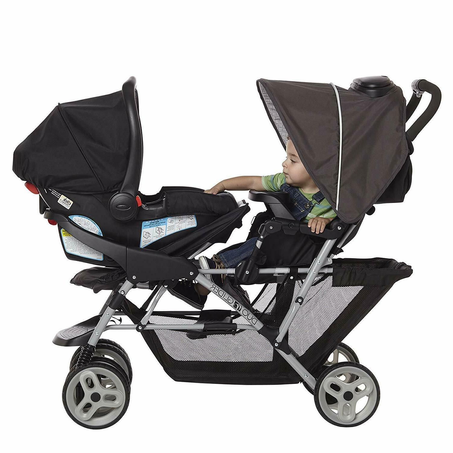 luxury baby double stroller pushchair foldable buggy