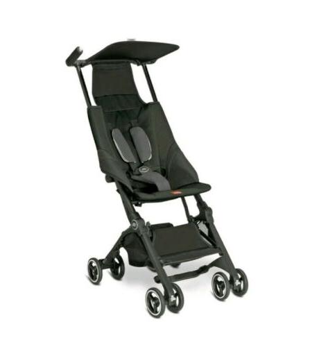 new pockit compact foldable stroller monument black