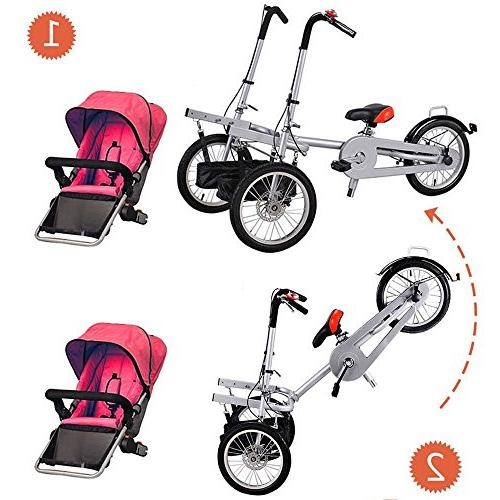 One/Two Seat Folding Mother Baby Tricycle Stroller Carrier Bicycle 5 Years
