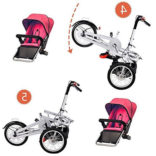 One/Two Folding Baby Child Tricycle Mom Bicycle Pushchair 5