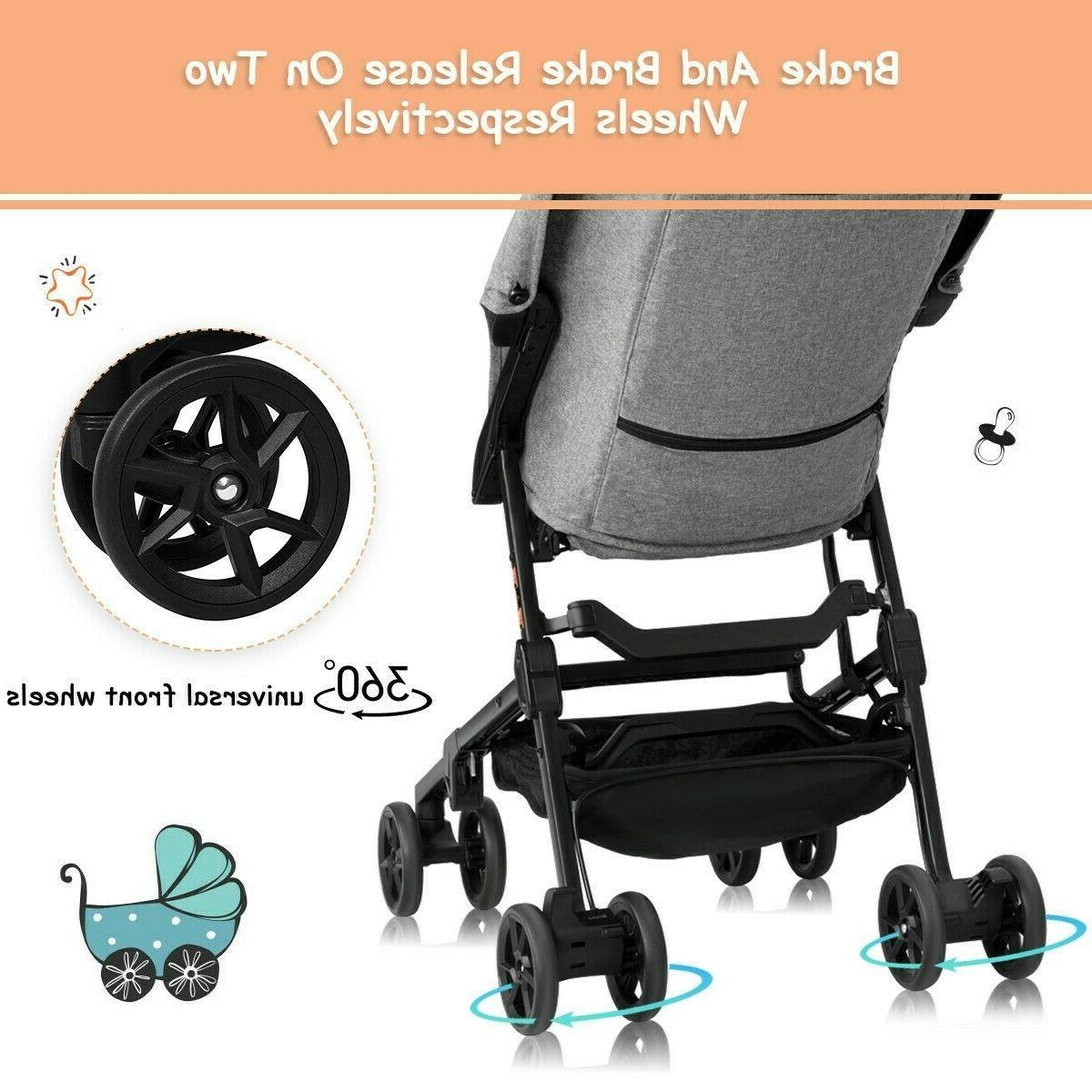 Pocket Mini Strollers Lightweight Travel Pushchair Canopy