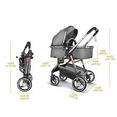 Besrey Pram Baby in 1 with Convertible Bassinet