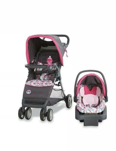 simple folding travel system minnie bowtiful stroller