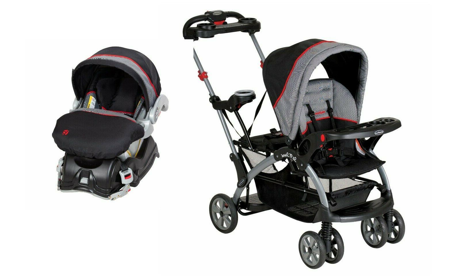 sit n stand double stroller with car