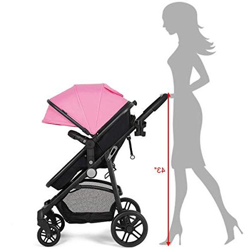 Costzon Baby Stroller, Bassinet to Stroller, with Foot Holder, Large Storage Space, Wheels Suspension, Harness