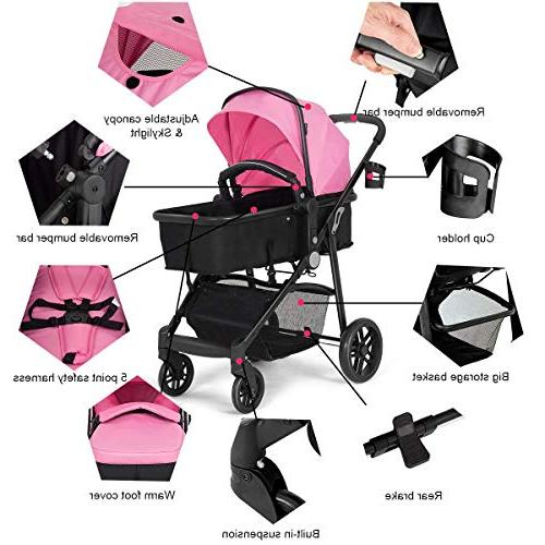 Costzon Baby in Bassinet to Stroller, Pushchair with Foot Holder, Wheels Suspension,