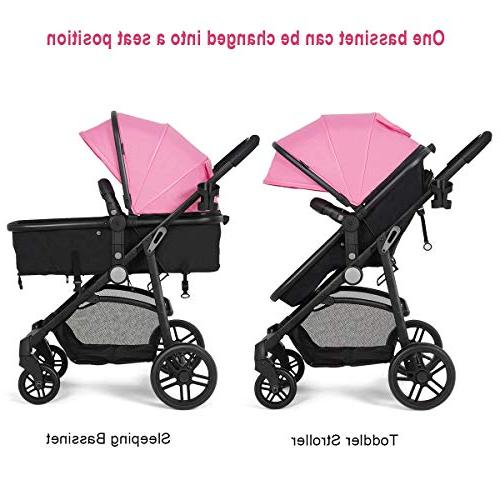 Costzon Baby in 1 Bassinet Stroller, Pushchair with Foot Cover, Cup Holder, Wheels Suspension,