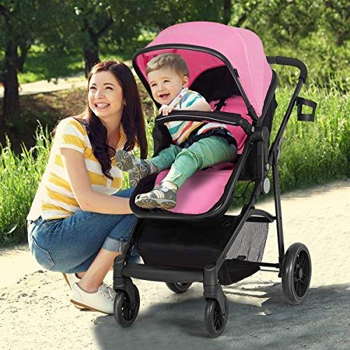 Costzon Stroller, in 1 Convertible with Foot Holder, Large Wheels Suspension,