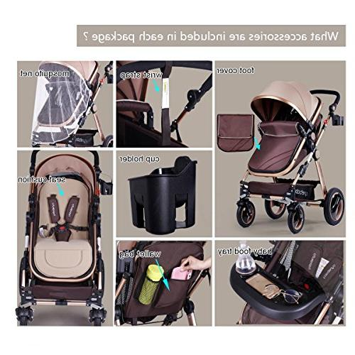 Infant Newborn and Cynebaby Convertible Bassinet Compact Single Baby Toddler Pram add Holder and Tray