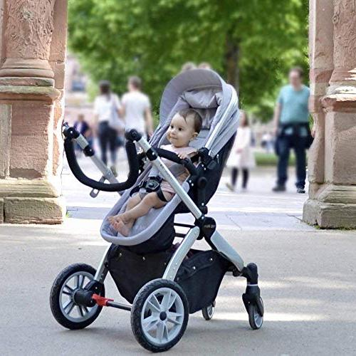 Infant Baby Carriage,Hot Mom Stroller 2 in pram seat with Bassinet,Grey
