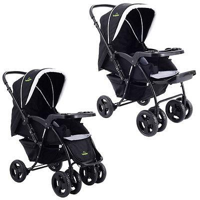 Two Kids Travel Stroller Newborn Infant Buggy Black