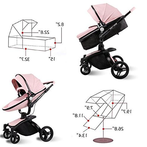 SpringBuds Infant Baby Stroller Shock-Resistant Luxury Baby Toddler Seat Combo-White