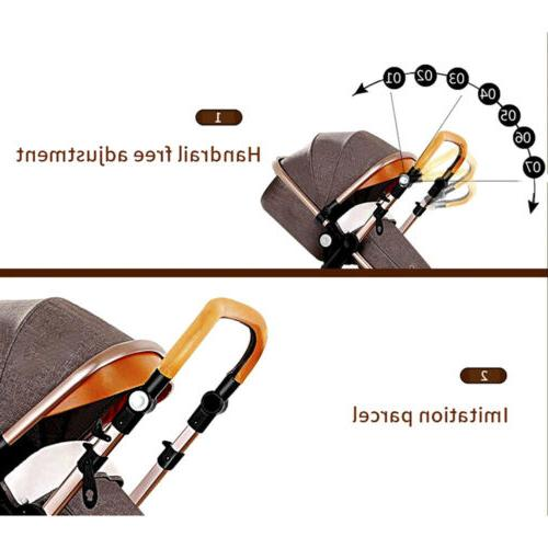 3 In Foldable Baby Stroller Pram Bassinet Car Seat Blue