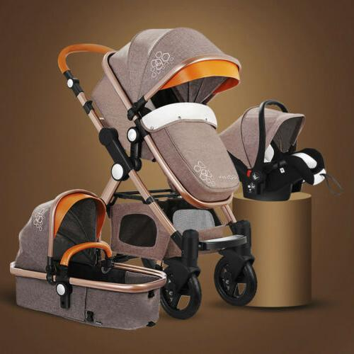 3 In 1 Foldable Baby Stroller Scenery Pram Pushchair Bassine