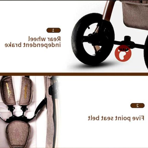 Upgrade 3in1 Luxury Baby Strollers Pram foldablePushchair.CarSeat