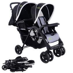 Lightweight Stroller Double Pushchair Quick Fold Foldable Si