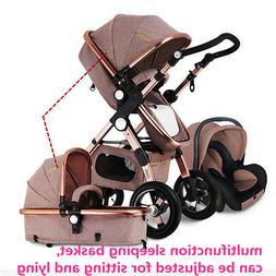 Luxury 3 in 1 Foldable Baby Stroller High View Pram Pushchai