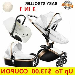 Luxury High Baby Stroller 3 In 1 Travel System Strollers New