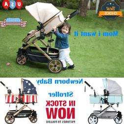 Luxury High View Baby Stroller Pushchair 0-3 Foldable Buggy