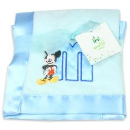Disney Mickey Mouse Plush Satin Trim Baby Blanket, Blue