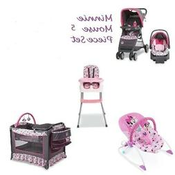 NEW  5 PC Minnie Mouse Baby Set Stroller Car Seat High Chair