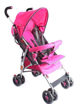 New Pink Girl's Single Baby Stroller Lightweight Folding Tra