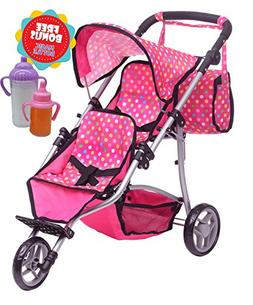 Exquisite Buggy, Twin Doll Stroller with Diaper Bag and Pink
