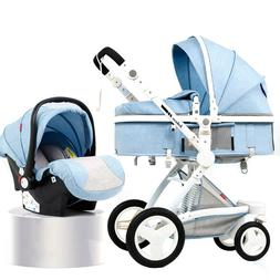 PU Baby Stroller 3 in 1 Newborn Infant Foldable Two Way Push
