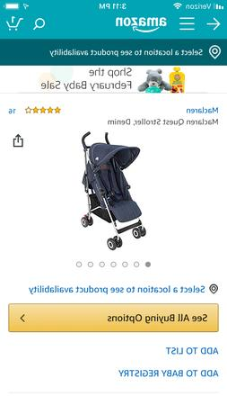 Maclaren Quest Stroller, Denim Model number, WM1Y043312. Ama