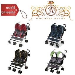 Side By Side Stroller W/ 360 Degree Swivel Shock Absorbing F