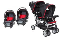 Baby Trend Double Stroller with Two Infant Car Seat Toddler