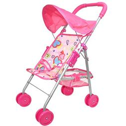 My First Doll Stroller - Foldable Doll Stroller with Hood an