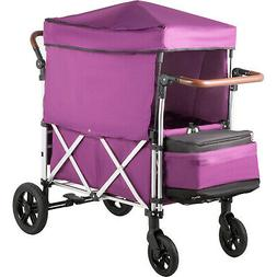 Stroller Wagon Push Wagon 2 Passengers Wagon with Canopy for