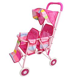 "27"" Tall My First Doll Twin Stroller Pink Foldable Double Se"