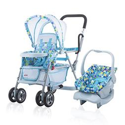 Joovy Toy Doll Caboose Pretend Play Stroller & Car Seat, Blu