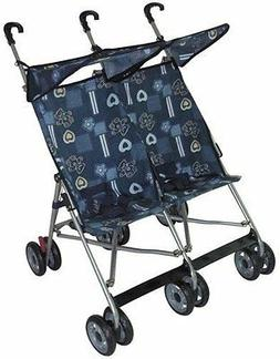 Amoroso Twin Baby Stroller Blue with 360-degree Swivel Front