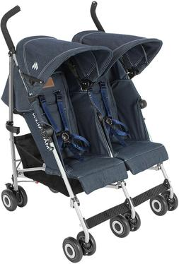 Denim Blue Maclaren Twin Triumph Double Light Weight Strolle