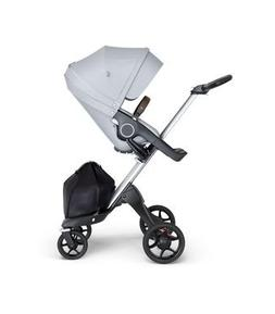 Stokke Xplory V6 Silver Chassis Stroller with Brown Leathere